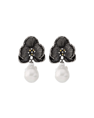 Black Orchid Earrings with Diamonds & Pearls