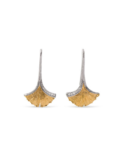 Gingko Leaf Drop Earrings with Diamonds