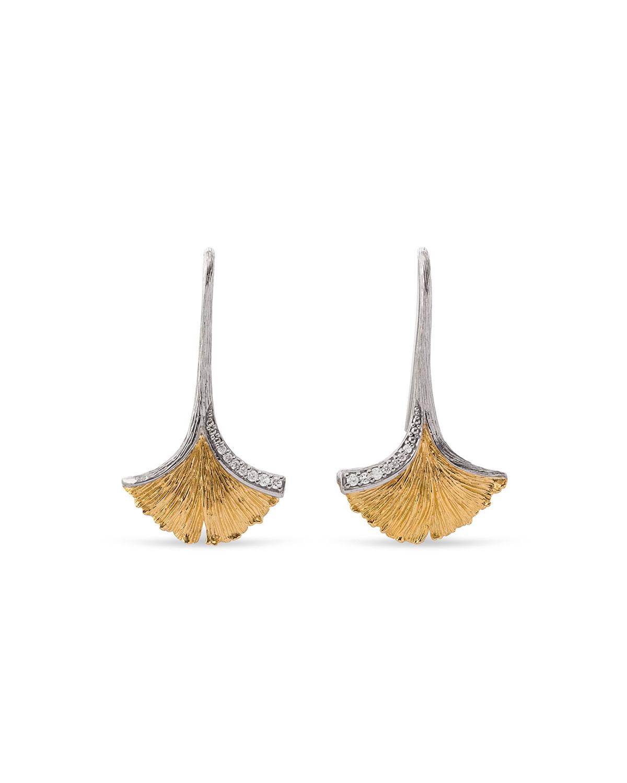 Butterfly Ginkgo Leaf Drop Earrings with Diamonds