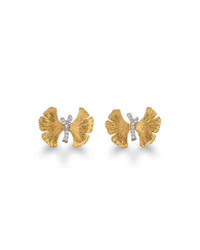 Butterfly Ginkgo Silver & Gold Earrings with Diamonds