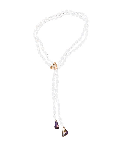 Orchid Lariat Pearl Necklace with Ametrine & Diamonds, 32