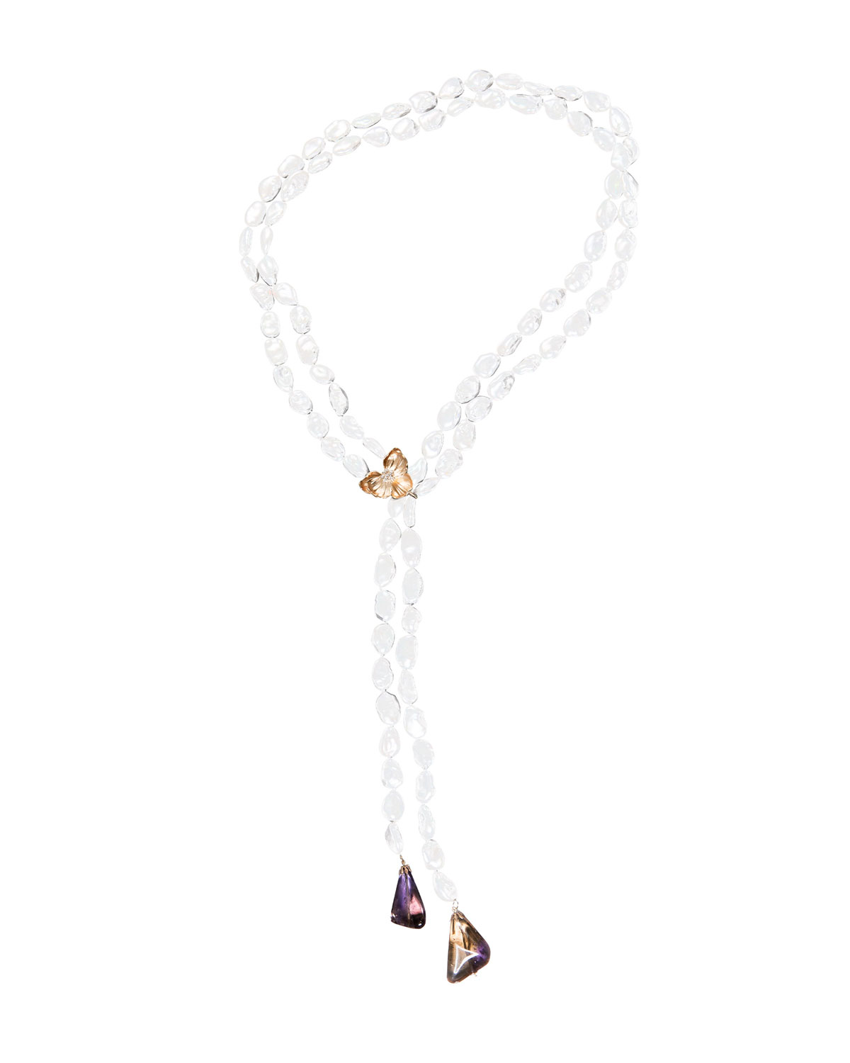 Orchid Lariat Pearl Necklace with Ametrine & Diamonds