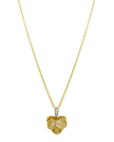 Small Orchid Pendant Necklace with Diamonds in 18K Gold
