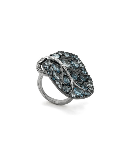 Michael Aram Botanical Leaf Ring with Blue Topaz & Diamonds, Size 7