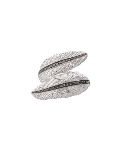 Sterling Silver Feather Bypass Ring with Diamonds