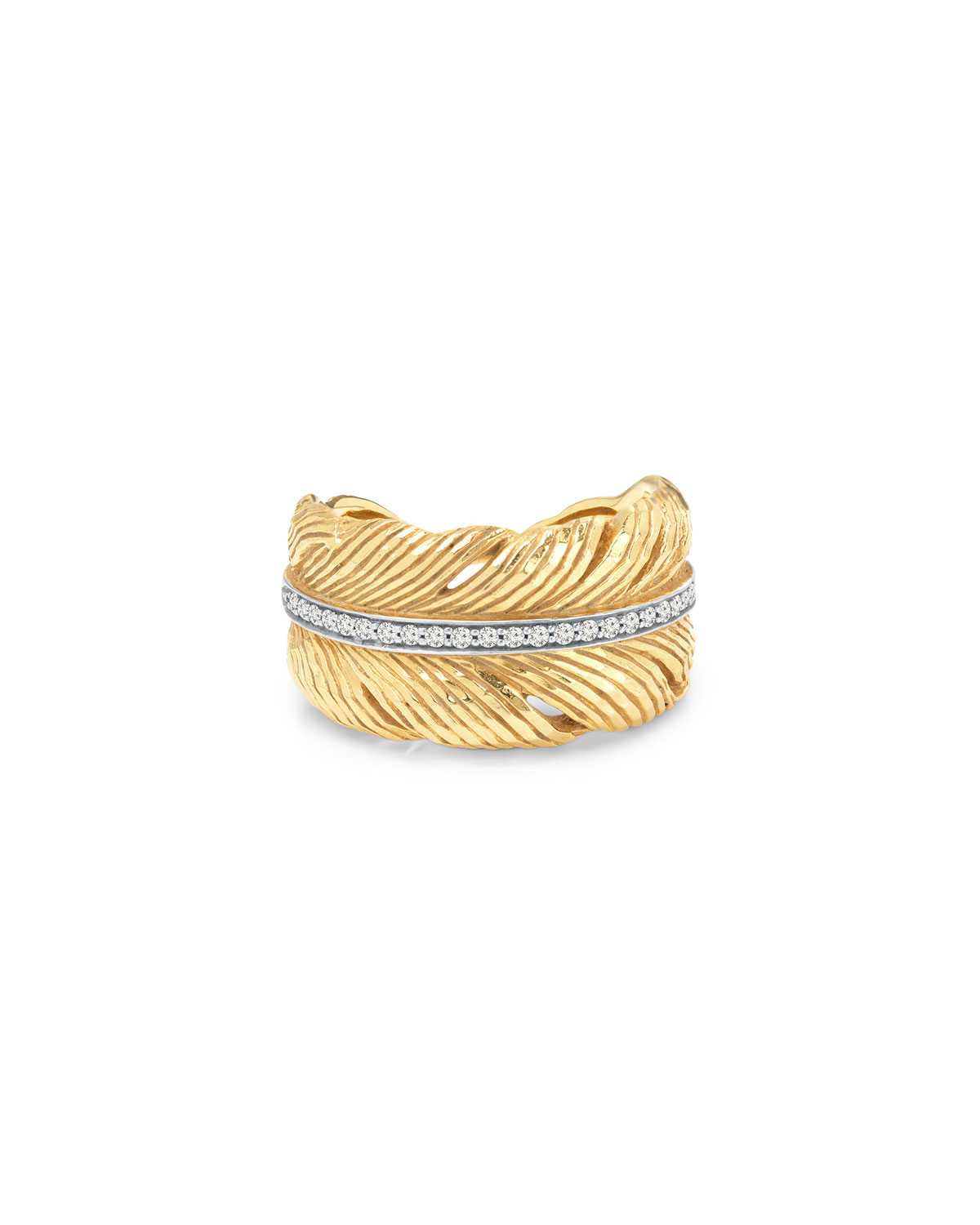 18K Yellow Gold Feather Ring with Diamonds
