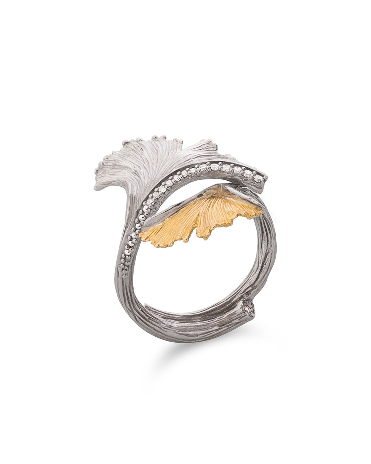 Ginkgo Double Leaf Ring with Diamonds