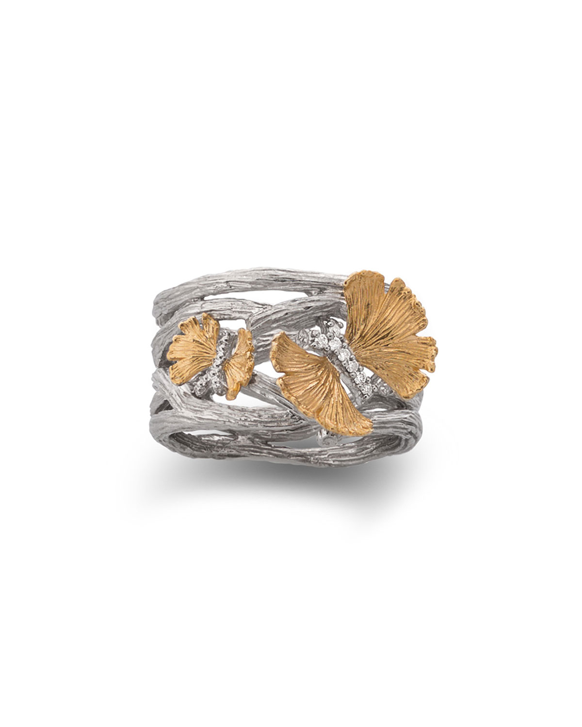 Butterfly Ginkgo Cuff Ring with Diamonds