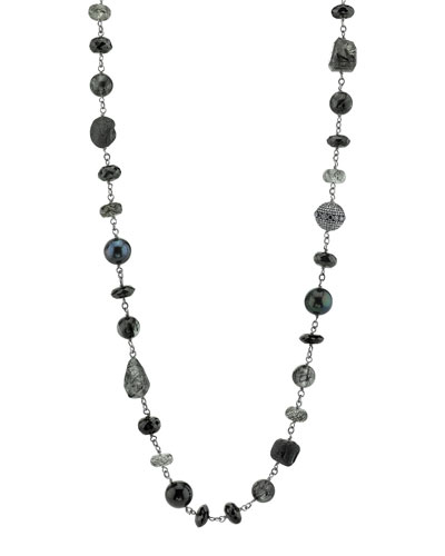Beaded Black Mix Wire Necklace with Diamond Bezel Bead, 42