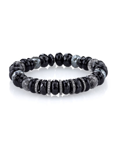 Faceted Black Beaded Bracelet with Diamond Rondelles