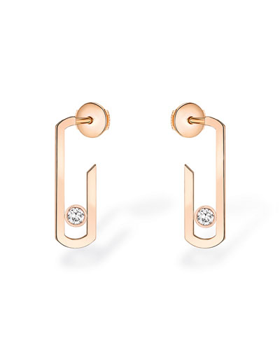 Messika MOVE ADDICTION DIAMOND BEZEL EARRINGS IN 18K PINK GOLD
