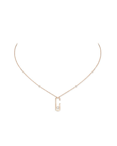 Move Addiction Diamond Bezel Necklace in 18K Pink Gold