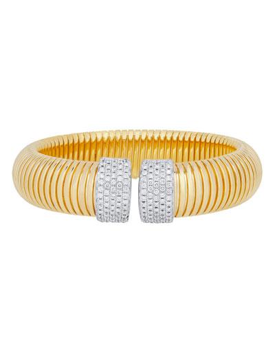 ALBERTO MILANI TUBOGAS WIDE 18K GOLD BRACELET WITH DIAMONDS