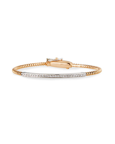 Tubogas 18K Rose Gold Bracelet with Channel-Set Diamond Bar