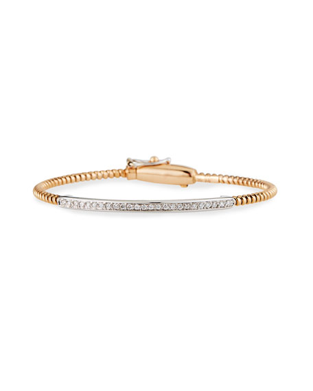 Alberto Milani Tubogas 18K Rose Gold Bracelet with Channel-Set Diamond Bar