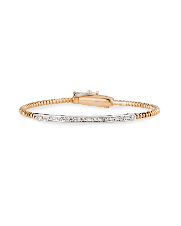 Piazza Mercanti 18K Rose Gold Tubogas Bracelet with Channel-Set Diamond Bar