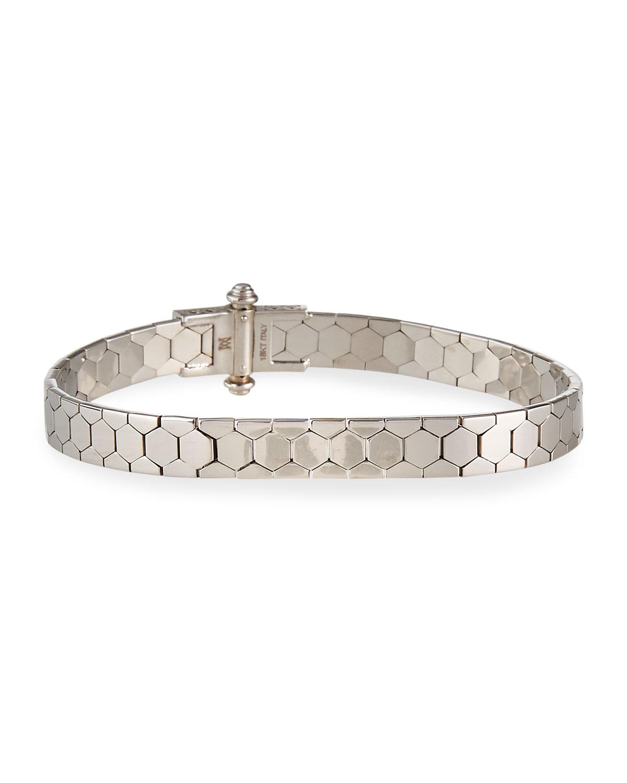Piazza Castello 18K White Gold Polygon Bangle Bracelet