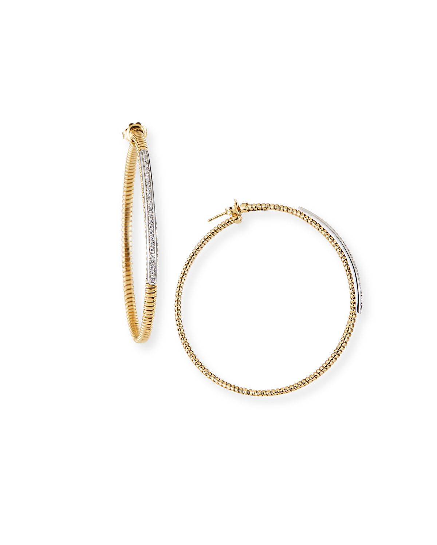 Piazza Mercanti Tubogas Hoop Earrings with Diamonds