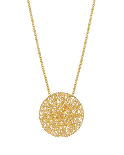 Mesh Disc Pendant Necklace in 18K Gold