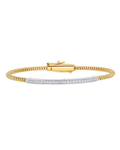 Tubogas 18K Gold Bracelet with Channel-Set Diamond Bar