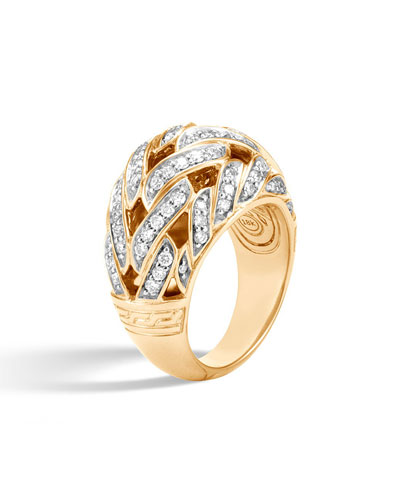 Classic Chain 18k Pave Diamond Dome Ring, Size 7