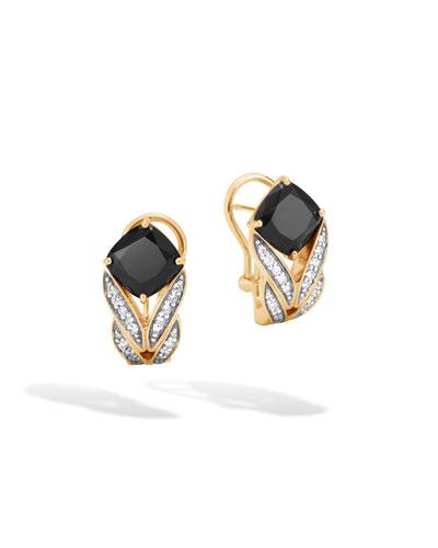 Modern Chain Magic Cut 18k Buddha Belly Earrings with Black Onyx & Diamonds