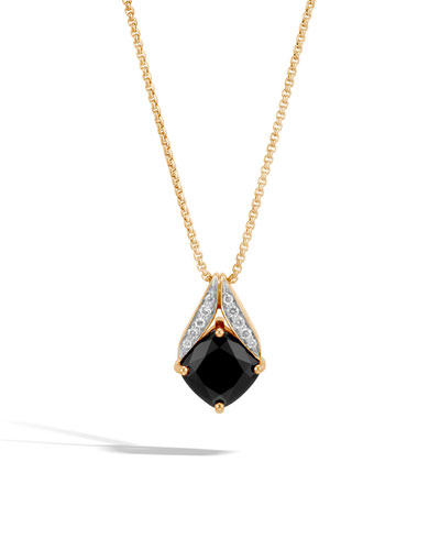 Modern Chain Magic Cut 18k Necklace with Black Onyx & Diamonds, 16