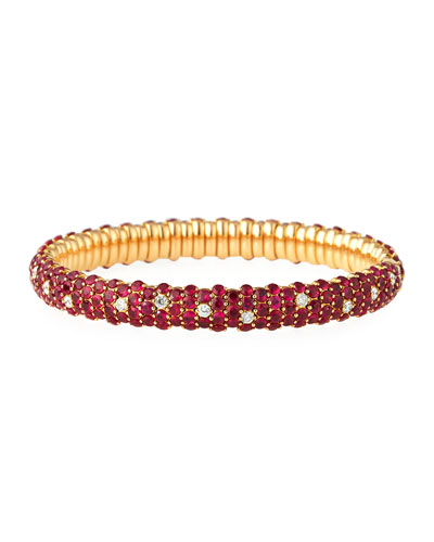Ruby & Diamond Stretch Bracelet in 18K Rose Gold