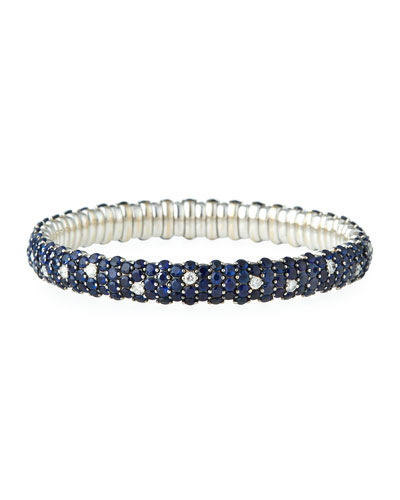 Blue Sapphire & Diamond Stretch Bracelet in 18K White Gold