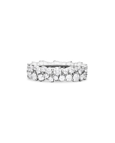 6mm Confetti Diamond Band Ring in 18K White Gold, Size 6.5