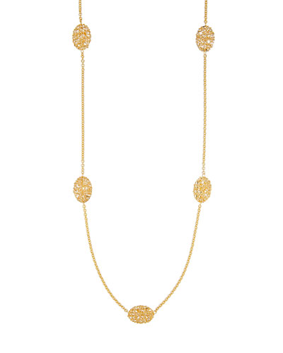 Oval Mesh Station Necklace in 18K Gold, 30