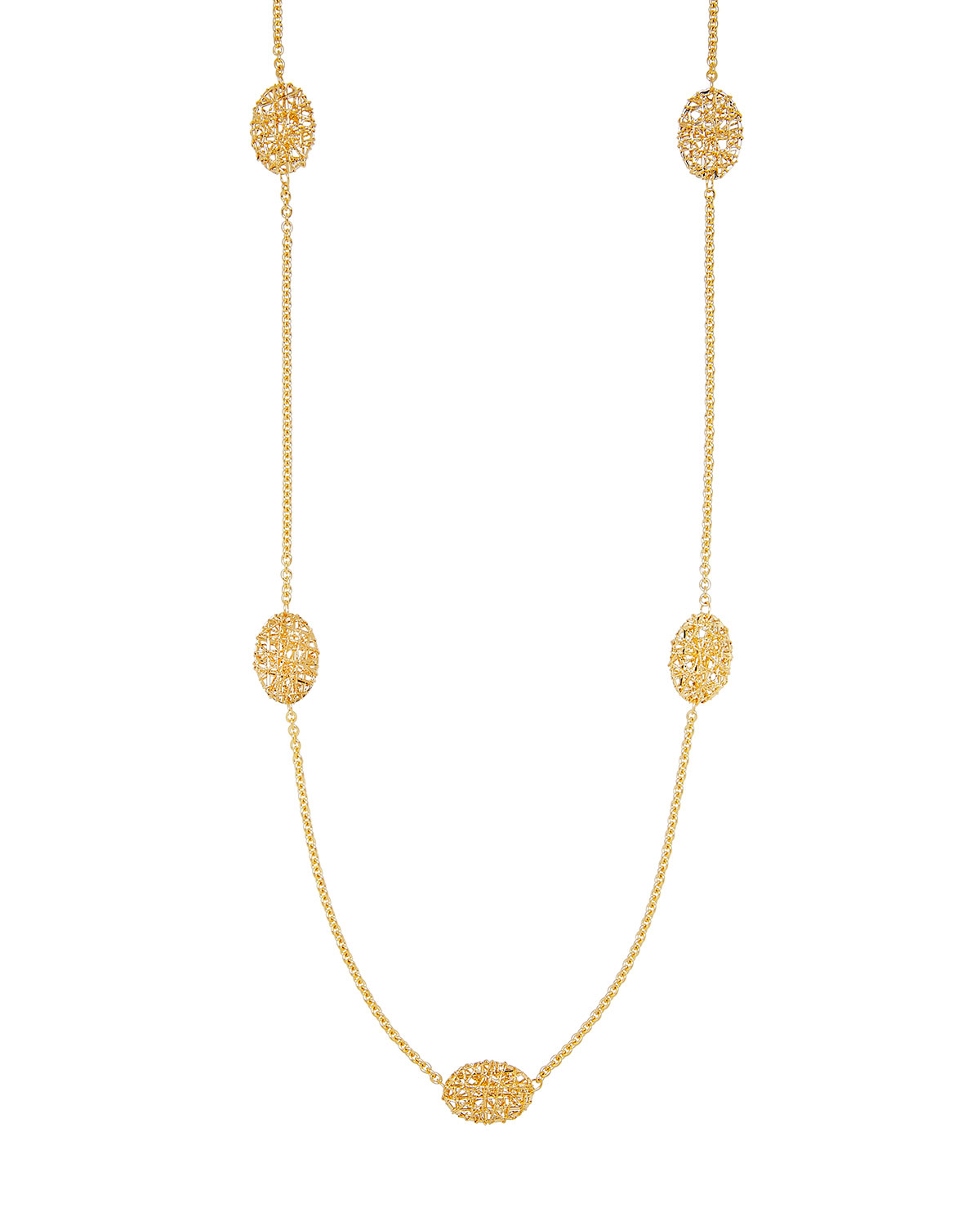 Piazza Duomo 18K Gold Oval Mesh Station Necklace