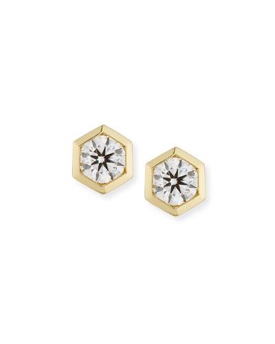 Hexagon Diamond Bezel Stud Earrings