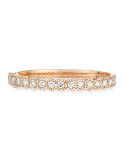 Rose-Cut & Pavé Diamond Bangle in 18K Rose Gold