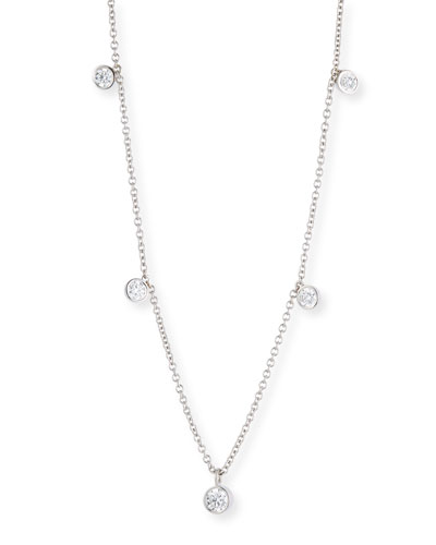 Dangling Diamond Bezel Necklace in 18K White Gold