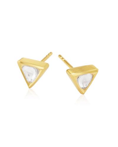 Kundan Diamond Triangle Stud Earrings