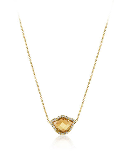 Nalika Citrine Lotus Necklace with Diamonds