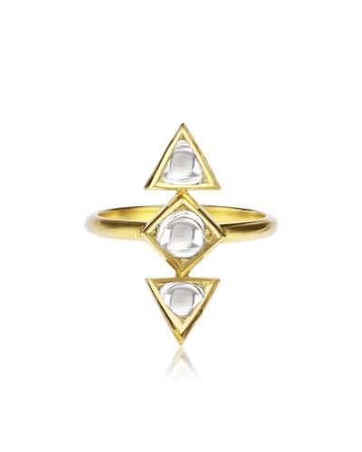 LEGEND AMRAPALI KUNDAN DIAMOND TRIANGLE RING