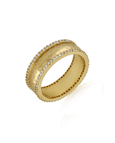 Large Chandi Hammered Band Ring with Diamonds