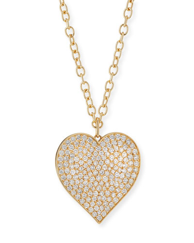 Supersize Pavé Diamond Heart Pendant Necklace, 18