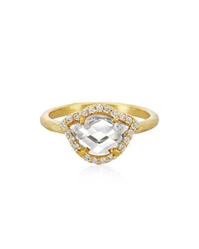 Nalika Lotus White Topaz & Diamond Stack Ring