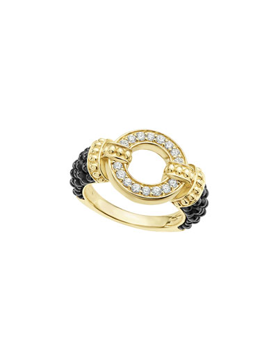 Lagos Circle Game Black Ceramic Caviar Link Earrings with Diamonds LvrPXEt9N3