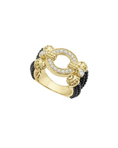 Circle Game Black Ceramic Split-Shank Ring with Diamonds, Size 7