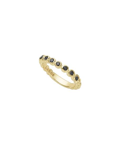 Lagos 3mm Black Diamond Caviar Stacking Band Ring, Size 7