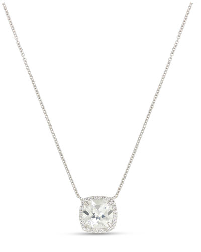 Cushion White Topaz & Diamond Halo Necklace
