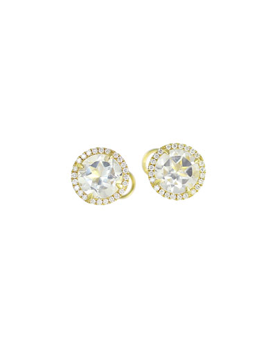 White Topaz & Diamond Halo Earrings in 18K Gold