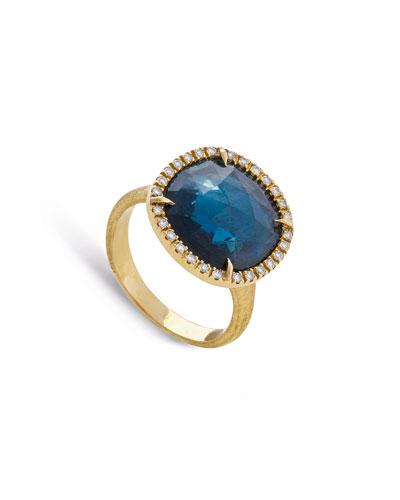 Jaipur Medium 18k London Blue Topaz & Diamond Cocktail Ring