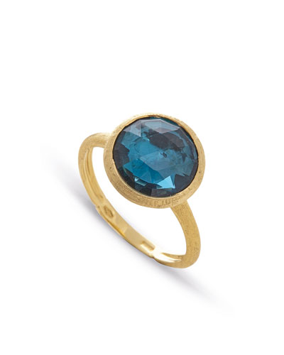 Jaipur 18K Faceted Round London Blue Topaz Ring, Size 7