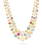Jaipur Three Strand Collar with Mixed Elevated Gemstones