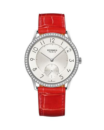 39.5mm Slim d'Hermès Watch with Diamonds & Alligator Strap, Red